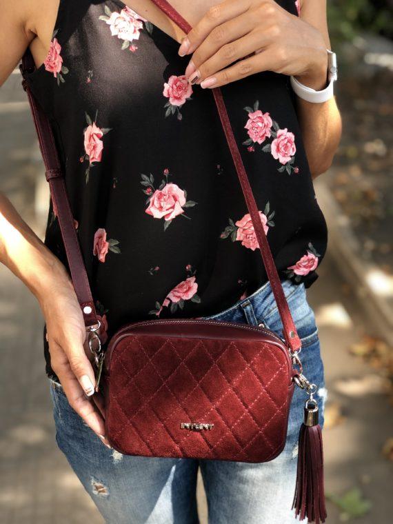 Кожаная сумочка с замшей Flower С145Z (марсала) 3