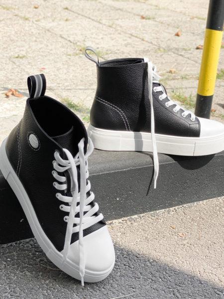 Кожаные-кеды-Star-K106-(черные-с-белым)